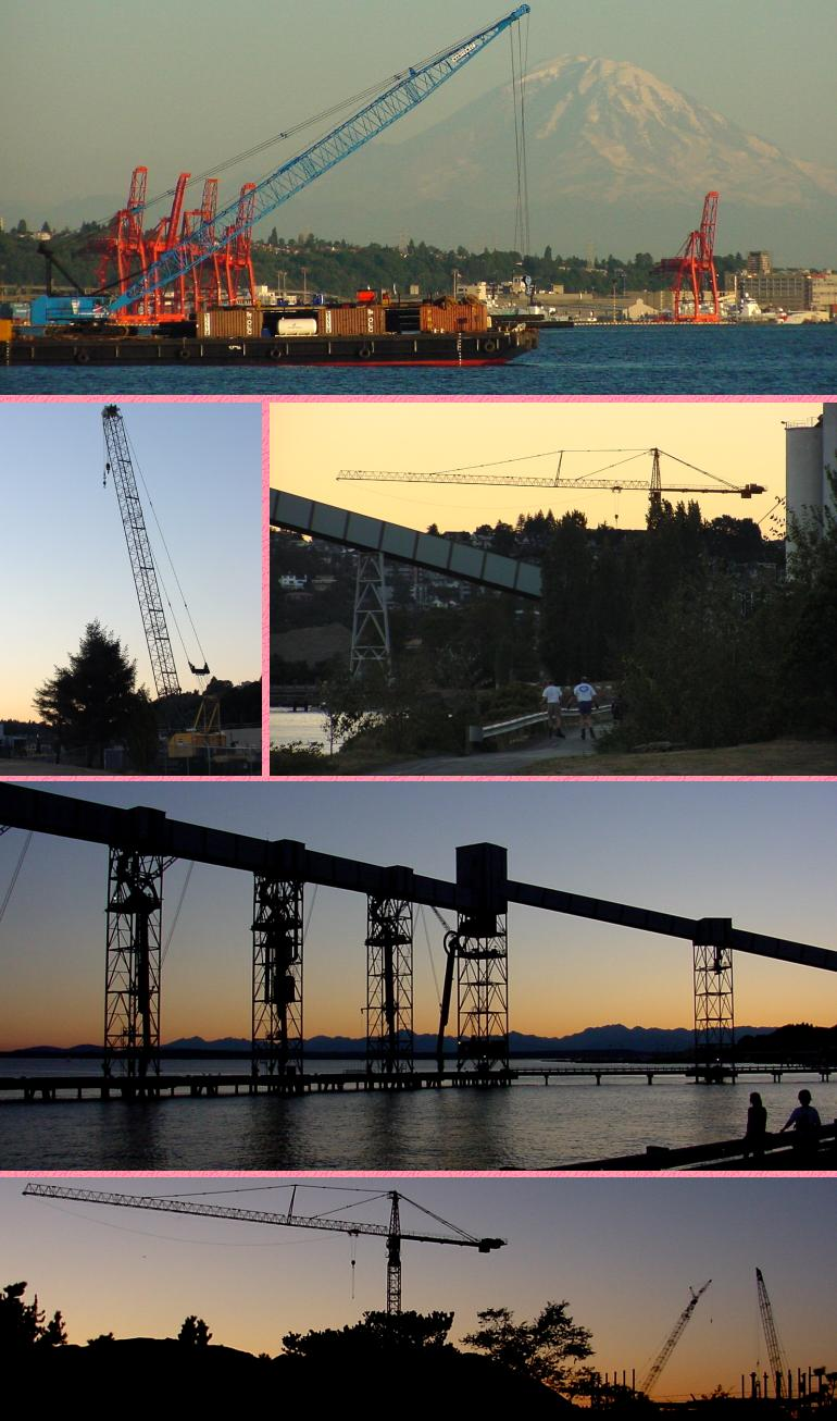 Elliott Bay Cranes - Evening - August 8, 2001